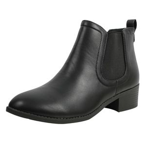 Shoes - Black Chelsea Low Heel Ankle Boot